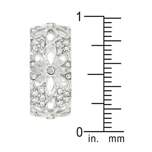 Crystal Floral Filigree Band Size 5