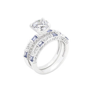 Clear and Tanzanite Cubic Zirconia Ring Set Size 10