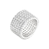 Silvertone Finishd Wide Pave Cubic Zirconia Ring Size 7