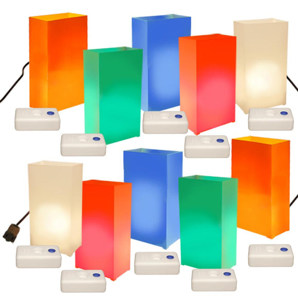Electric Luminaria Kit with LumaBases- Multi Color- 10 Count