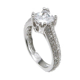 Plutus Brands 925 Sterling Silver Rhodium Finish CZ Princess Antique Style Engagement Ring 1.5 Carat Weight- Size 6