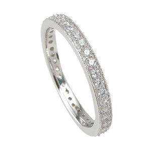 925 Sterling Silver Wedding Band 1 Carat Weight- Size 8