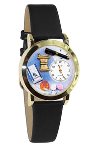 Pharmacist Black Leather And Goldtone Watch
