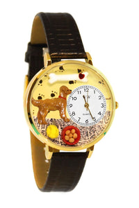 Golden Retriever Black Skin Leather And Goldtone Watch