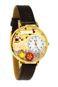 Pug Black Skin Leather And Goldtone Watch