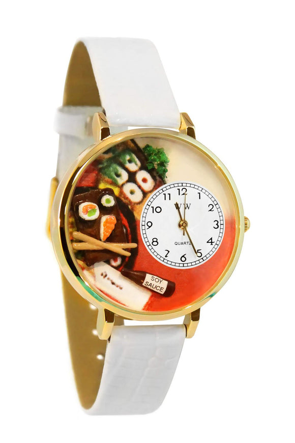 Sushi White Leather And Goldtone Watch