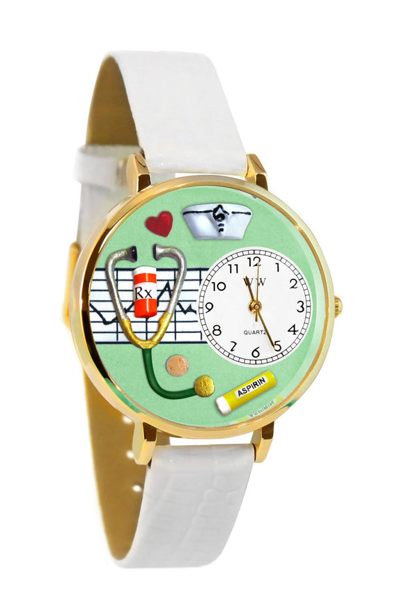 Nurse Green White Skin Leather And Goldtone Watch