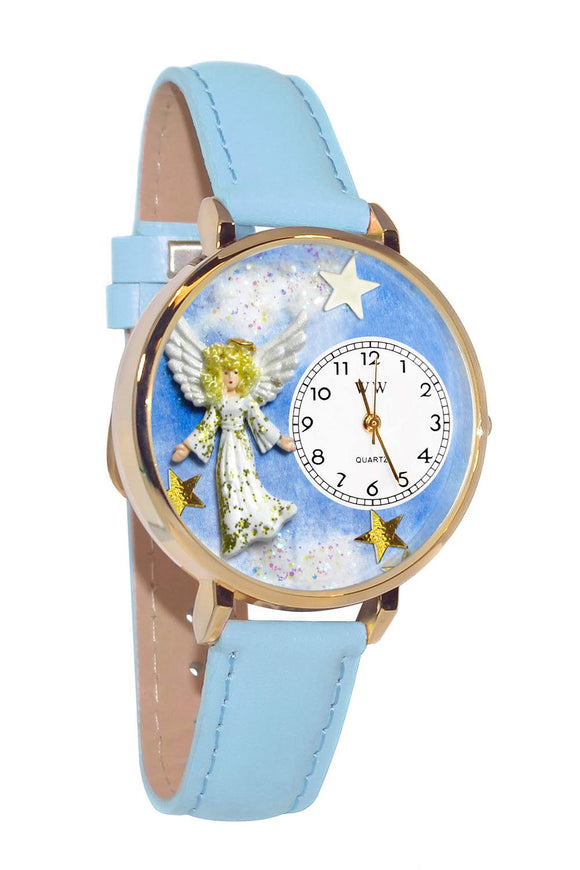 Angel Baby Blue Leather And Goldtone Watch