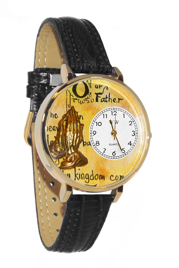 Lord's Prayer Black Skin Leather And Goldtone Watch