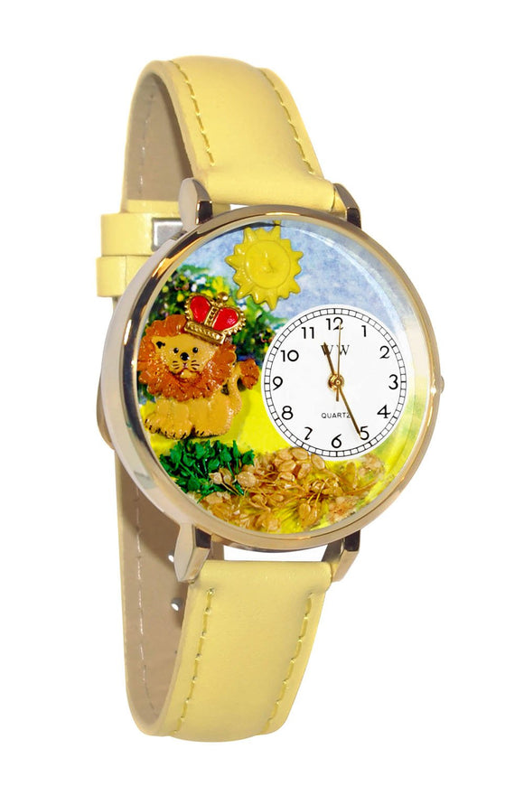 Lion Yellow Leather And Goldtone Watch