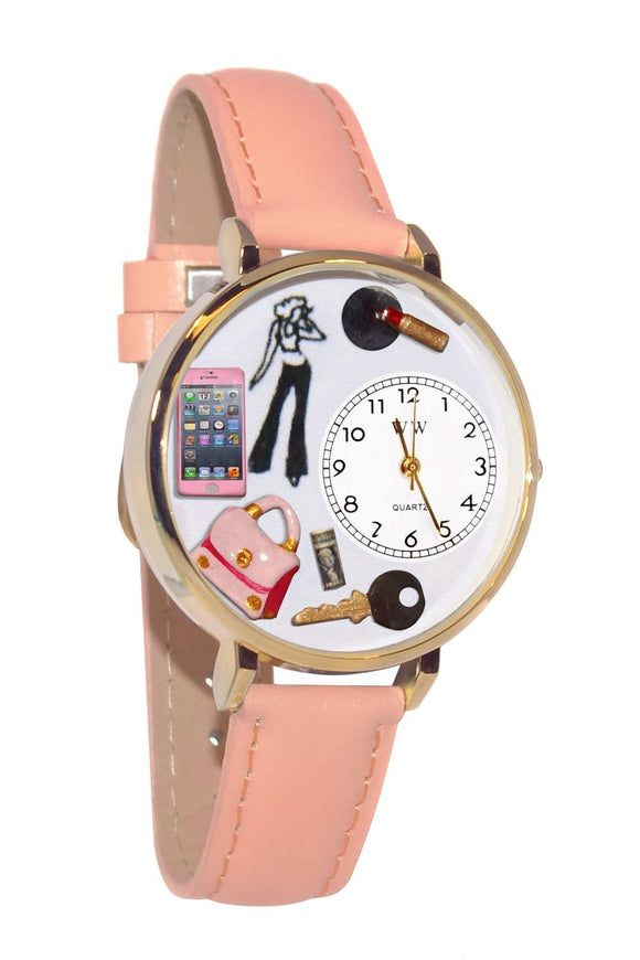 Teen Girl Pink Leather And Goldtone Watch