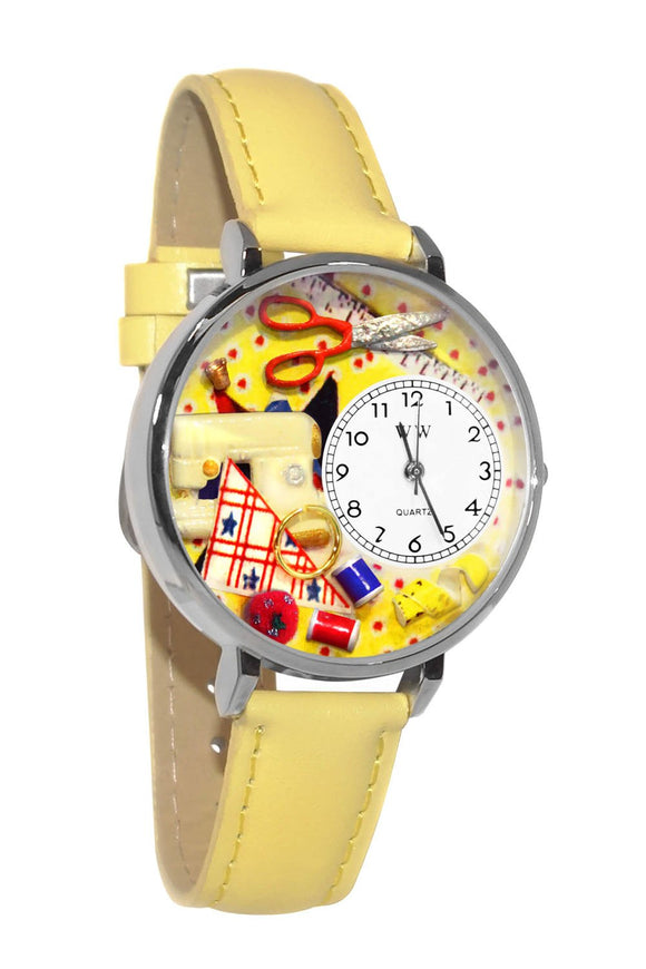 Sewing Yellow Leather And Silvertone Watch