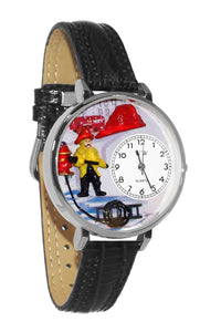 Firefighter Black Padded Leather And Silvertone Watch