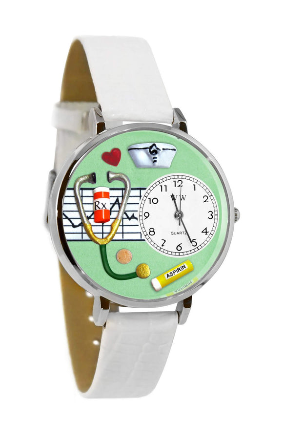 Nurse Green White Skin Leather And Silvertone Watch