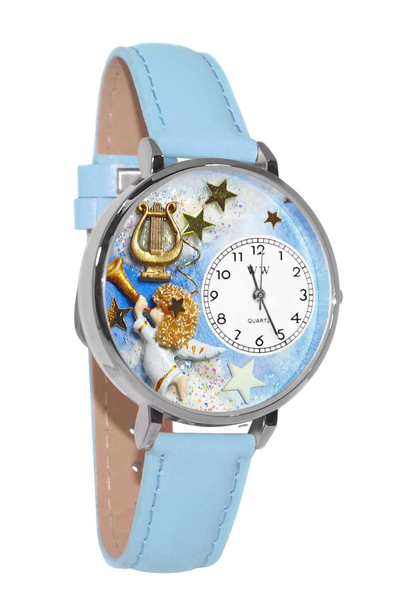 Angel with Harp Baby Blue Leather And Silvertone Watch