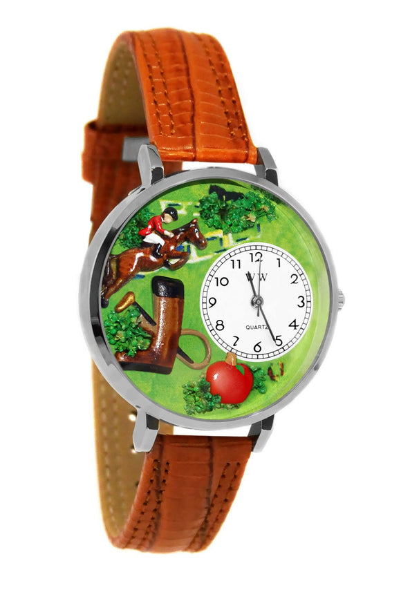 Horse Competition Tan Leather And Silvertone Watch