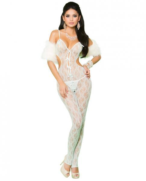 Elegant Moments Vivace Lace Bodystocking Open Crotch & Bows Mint Green O/S