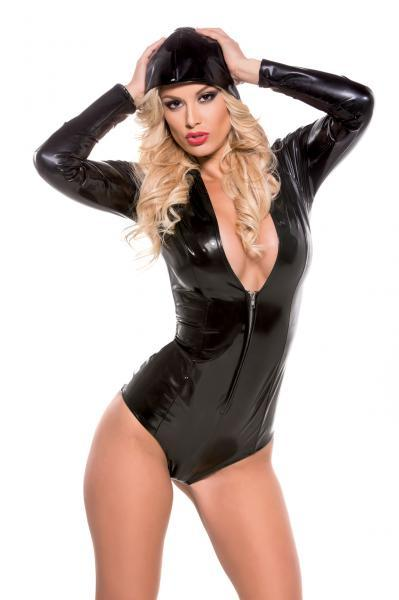 Second Skin Tight Hooded Jumper Black S/M