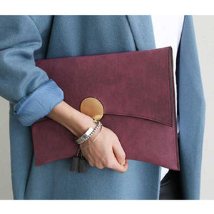 Brand Design Women Clutch Bag Handbag Faux Suede Elegant Ladies Shoulder Bag Moon Matte Leather Chains Envelope Crossbody Bag