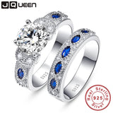 High Quality White CZ&Sapphire Solid Real Sterling Silver Jewelry 2-Pcs Wedding Engagement 925 Silver Jewelry Ring Set