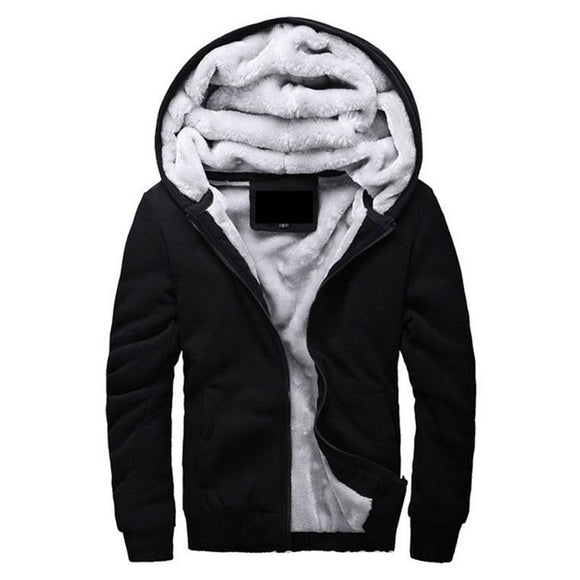 Hot Sale Men's Hooded Casual Brand Hoodies Clothing Wool Liner Mens Winter Thickened Warm Coat Male M-4XL Sweatshirts Outwear