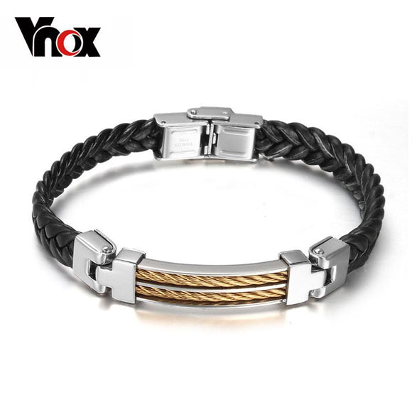 Vnox Fashion Black Leather Bracelets Men Jewelry Stainless Steel Wire