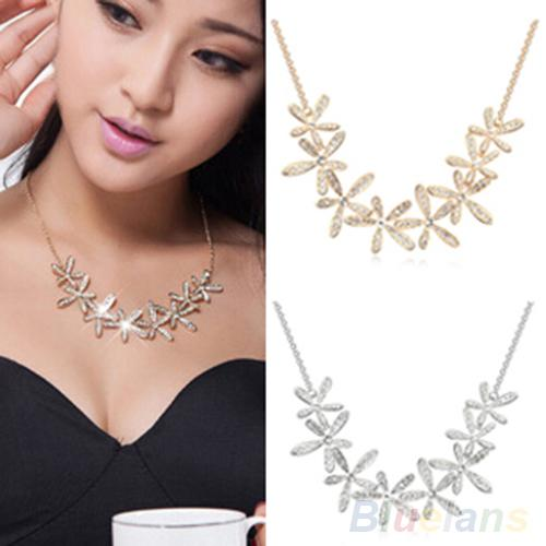 Women's Vintage Full Rhinestone Snowflake Pendant Alloy Choker Chain Statement Necklace 1Q8I