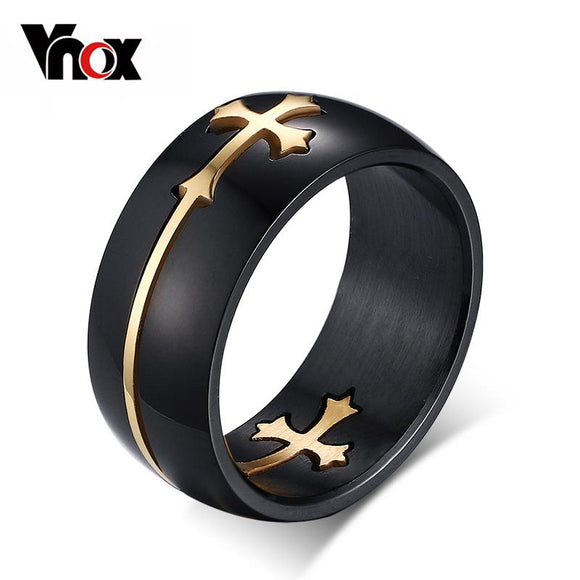 Vnox Separable Cross Ring for Men Woman Black Color Stainless Steel Cool Male Design Jewelry