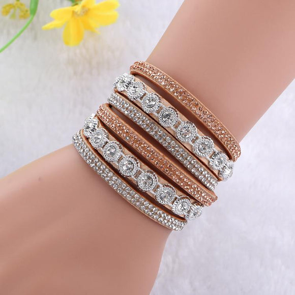 2016 Multilayer crystal Wrap bracelet Rhinestone deluxe bracelet Double wrap leather