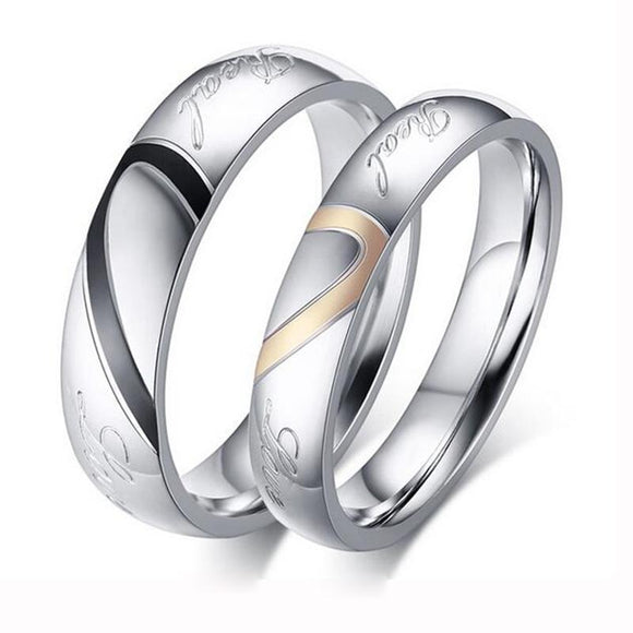 Silver Color Couple Ring Quality Stainless Steel Heart Alliance Ring For Women Men Full Size 4-15 gift for lover