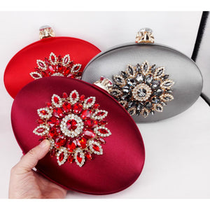Fashion round oval shape satin with crystals clutch chain shoulder bag women's handbag Gold Evening Bag Wedding Party Purse X61