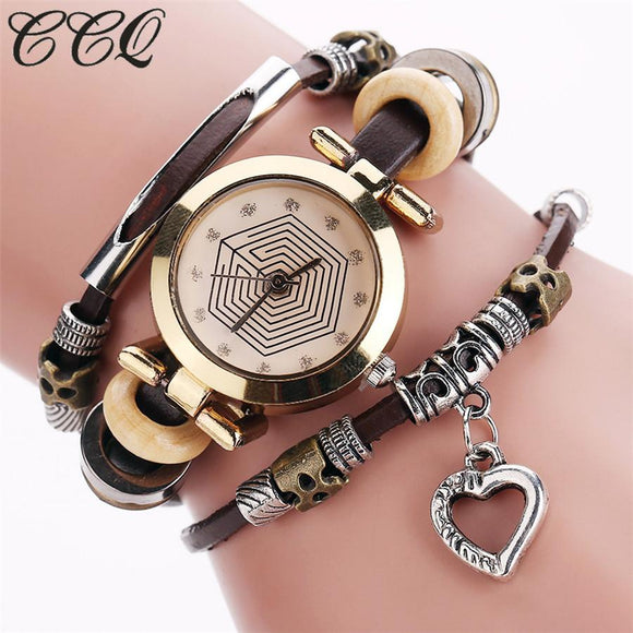 CCQ Fashion Vintage Leather Bracelet Watches Women Casual Love Heart Pendant Wrist Watch Quartz Watch