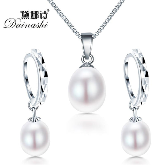 Freshwater pearl necklace jewelry set Classic 925 sterling silver jewelry set genuinee/earrings for women wedding set