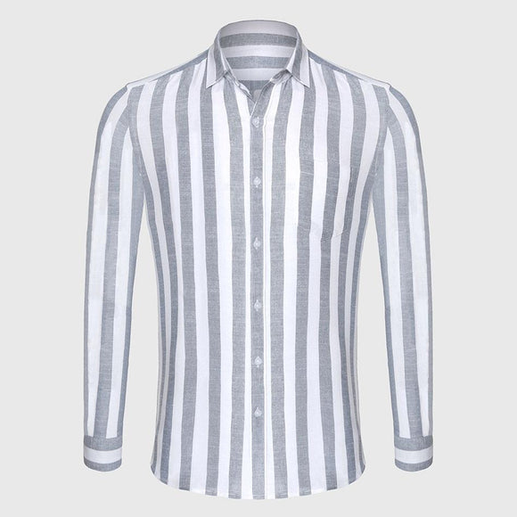 Zecmos Stripe Cotton Linen Casual Shirt Men Striped Shirt Linen Male Slim Fit Men Shirt Long Sleeve Social Business