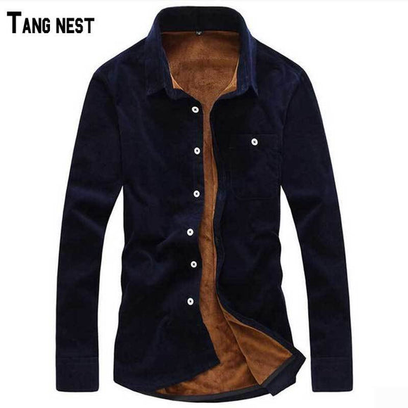 TANGNEST Men's 2017 New 14 Colors Big 5XL Size Corduroy Shirt Men Single Breasted Solid Warm Shirts Clothing For Male MCL1305