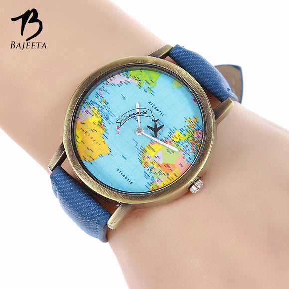 BAJEETA Vintage Leather Quartz Women Watch Fashion Casual Men Wrist Watch Ladies World Map Aircraft Watches Relogio Feminino