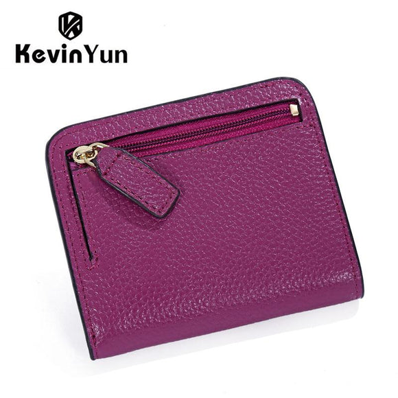 KEVIN YUN Designer Brand Fashion Split Leather Women Wallets Mini Purse Lady Small Leather Wallet with Coin Pocket