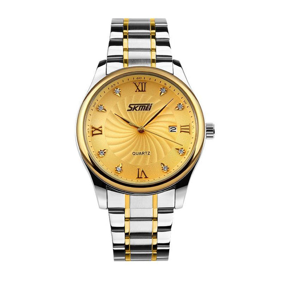Fashion SKMEI Casual Quartz Watch Men Classic Brand Luxury Wrist Stainless Steel Relogio Masculino 9101 Role Watch Mens Watches
