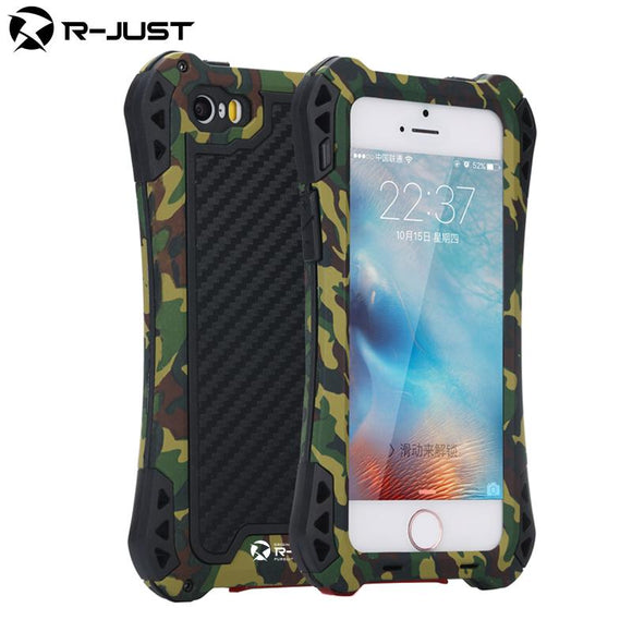 Waterproof Carbon Fiber Metal Aluminum Armor phone cover shell case for iphone 5 5s/SE 6 6G 6 plus with Gorilla Tempered Glass