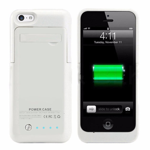 2200mAh External Backup Battery Charger Extended Rechargeable Power Bank Case Cover for iPhone 5 SE 5S 5C with Kickstand