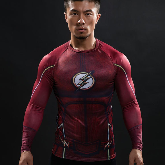Compression Shirt Flash 3D Printed T-shirts Men Raglan Long Flash Cosplay Costume Fitness Clothing Tops Male