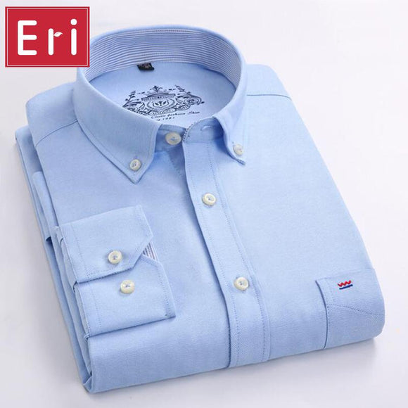 Men Shirt Long Sleeve Brand Business Casual Oxford Slim Fit Shirts Mens Solid Collar Dress Shirt Social 4XL X112