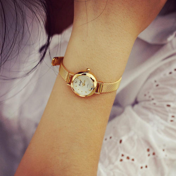 Lady Women's Thin watch Hot Sale Luxury Brand Gold watch women watches Women Wristwatches Dress Korea Bracelet Lover's Gift