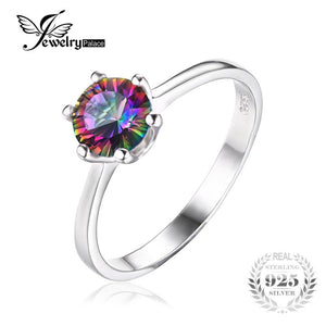 JewelryPalace 1ct Mystic Fire Rainbow Topaz Engagement Wedding Ring Solid 925 Sterling Concave Round Unique