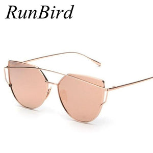 RunBird 2017 New Cat Eye Sunglasses Women Brand Designer Fashion Twin-Beams Rose Gold Mirror Cateye Sun Glasses For Female UV400