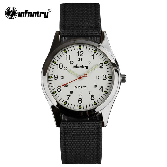 INFANTRY Mens Quartz Wristwatches Nylon Fabric Military Watches Army Black 24 Hours Male Clock Luminous Hands Relogio Masculino