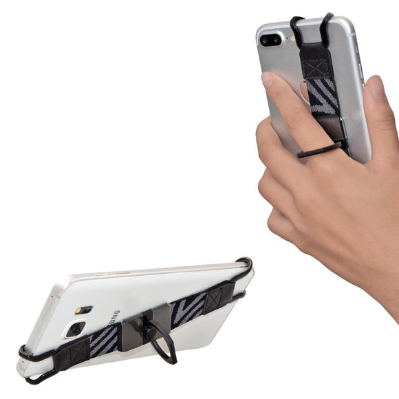 TFY Security Hand Strap with 360 Degree Rotation Metal Ring Finger-Grip Holder & Stand for iPhone 7 / 7 Plus Samsung Galaxy S4