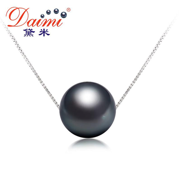 DAIMI 11-12mm Black Tahitian Pearl Pendant Sterling Silver Jewelry Simple Pearl Pendant Necklace Brand Jewelry