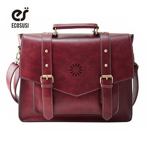 ECOSUSI New Women PU Leather Handbag High Quality Retro Women Messenger Bags Famous Designer Leather Briefcase Shoulder Bag