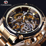 Forsining 2017 New Collection Transparent Case Golden Stainless Steel Skeleton Luxury Design Men Watch Top Brand Automatic Watch